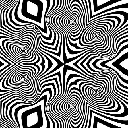 illusion: Black and White Background. Pattern With Optical Illusion.