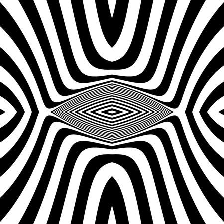 arte optico: Extracto blanco rayado blanco y negro de fondo. Arte óptico. Ilustración 3d.