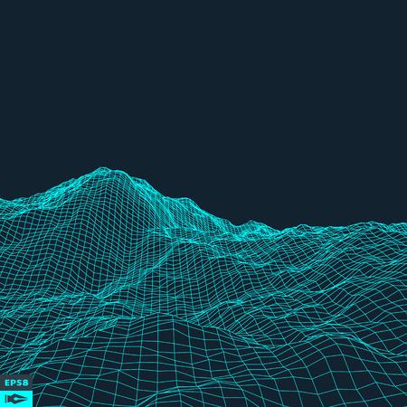 landscape: 摘要矢量景觀背景。網絡空間網格。 3D技術矢量插圖。 向量圖像