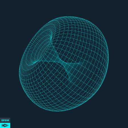 Torus. Molecular lattice. Connection structure. 3d Vector Illustration.