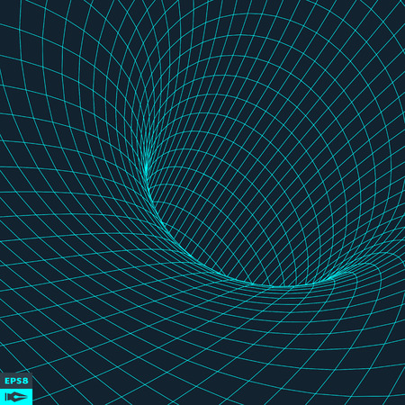 wormhole: Abstract 3d Surface Looks Like Funnel. Futuristic Technology Style. Perspective Grid Background Texture. Vector Illustration.