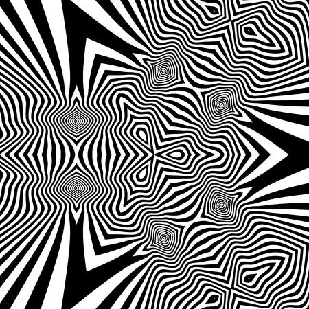 arte optico: Extracto blanco rayado blanco y negro de fondo. Arte óptico. Vectores