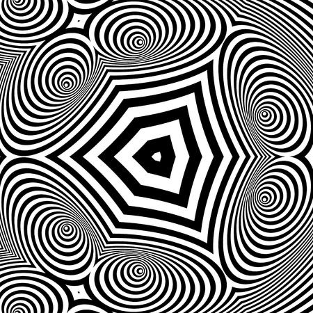 arte optico: Extracto blanco rayado blanco y negro de fondo. Arte �ptico. Ilustraci�n del vector 3d. Vectores
