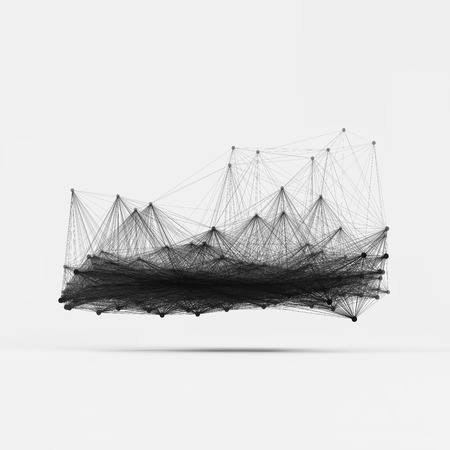 a structure: Connection Structure. Wireframe Vector Illustration.
