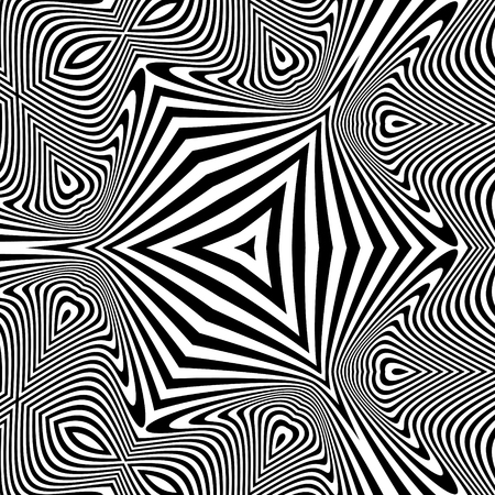 arte optico: Black and White Abstract Striped Background. Optical Art. 3d Vector Illustration.