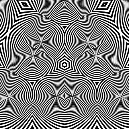 distort: Black and White Abstract Striped Background. Optical Art. 3d Vector Illustration.