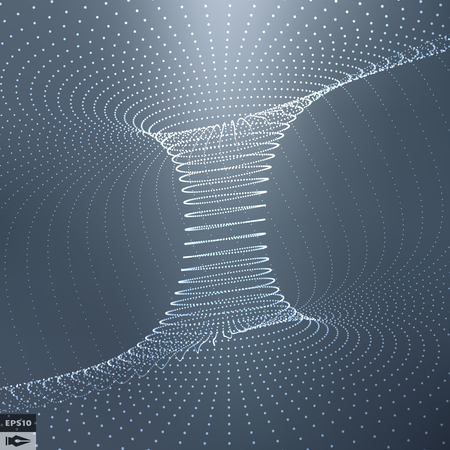 futuristic background: Abstract 3d Surface Looks Like Funnel. Futuristic Technology Style. Perspective Grid Background Texture. Vector Illustration.