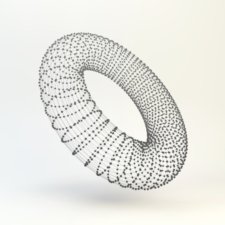 lattice: Torus. Molecular lattice. Connection structure. 3d Vector Illustration.