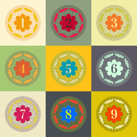 web 2 0: Numbers set. Colorful Frames in Linear Style. Trendy Elegant Retro Style Design. Mandalas �ollection. Round Ornament Pattern. Vintage Decorative Elements. Vector Illustration.