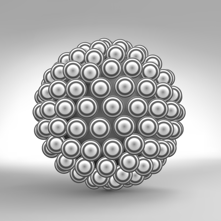 chemical compound: 3d Abstract Spheres Composition. Technology, Science and Research. Chemical Compound. Vector illustration.