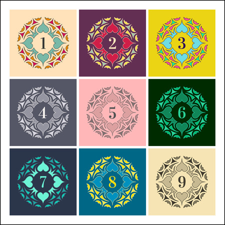web 2 0: Numbers set. Colorful Frames in Linear Style. Trendy Elegant Retro Style Design. Mandalas Collection. Round Ornament Pattern. Vintage Decorative Elements. Vector Illustration.