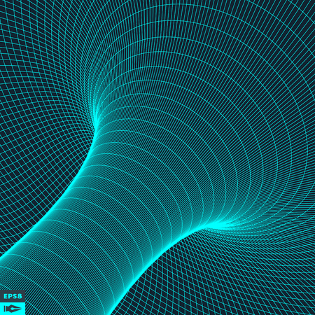 tubular: Abstract 3d Surface Looks Like Funnel. Futuristic Technology Style. Perspective Grid Background Texture. Vector Illustration.