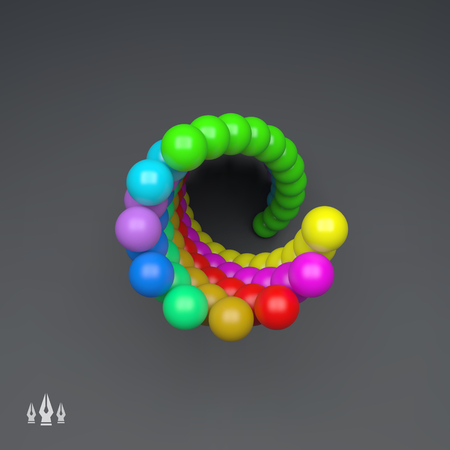 helical: 3d Colorful Spheres Composition. Vector Template. Futuristic Technology Style. Vector illustration for Web Design, Technology, Marketing, Website, Business Presentation. Art Design Element.