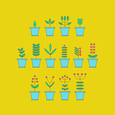 flora  vector: Set with Flowerpot Icons. Nature Collection. Flora Elements. Eco Signs. Vector Illustration.