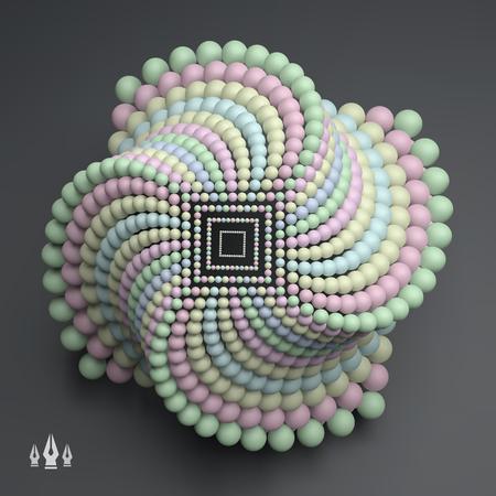 3D abstrakte Sphären Zusammensetzung. Futuristischer Technologie-Stil. 3D-Vektor-Illustration für Wissenschaft, Technologie, Marketing, Präsentation. Verbindungsstruktur. Network Design. 3D-Vektor-Illustration.