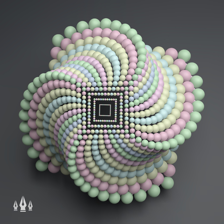 Composizione di sfere astratte 3D. Stile di tecnologia futuristica. Illustrazione vettoriale 3D per scienza, tecnologia, marketing, presentazione. Struttura di connessione. Progettazione della rete. Illustrazione vettoriale 3D.