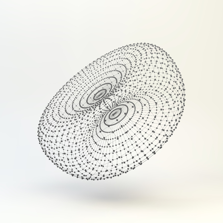 torus: Torus. Molecular lattice. Connection structure. 3d Illustration.