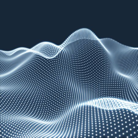 Landscape Background. Futuristic Landscape with Shiny Grid. Low Poly Terrain. 3D Wire frame Terrain. Network Abstract Background. Cyberspace Grid. Technology Illustration of Low-Poly Landscape