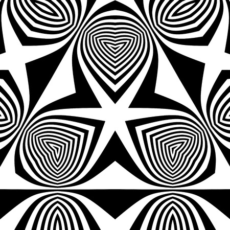 perspective: Black and White Background. Pattern With Optical Illusion.