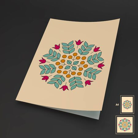 booklet: Floral Elements. Textbook, Booklet or Notebook Mockup. Orient Traditional Design. Lace Pattern. Vector Fashion Illustration. Illustration