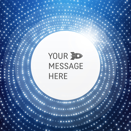 advertising text: Round Frame with Place for Text. Lattice Structure. Network Technology Communication Background. Graphic Design. 3D Grid Surface with Particles. Illustration For Marketing, Advertising, Presentation.