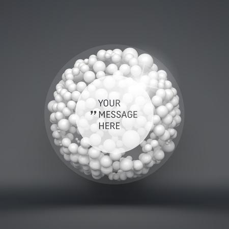 esfera: Marco redondo con lugar para el texto. Esfera. 3d plantilla de vectores. Ilustración abstracta. 3d composición abstracta Esferas. La tecnología de estilo futurista. Concepto de la idea. Ilustración del vector para la Ciencia, Tecnología, Diseño de páginas web y la red. Vectores
