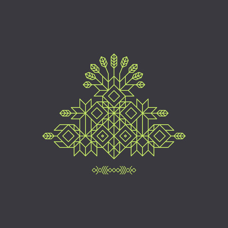 vintage design: Totem. Decorative Line Art Element. Geometric Vintage Style. Ornate Element for Design. With Place for Text. Line Art Design for Invitations, Posters, Business Presentation. Vector  Illustration.