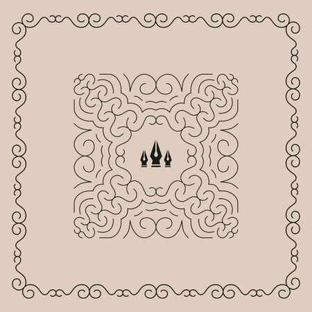 contours: Line Art Floral Frame. Vector Linear Frame. Decorative Vector Pattern. Design Template. Elegant Element for Invitations, Posters and Badges. With Place for Text.