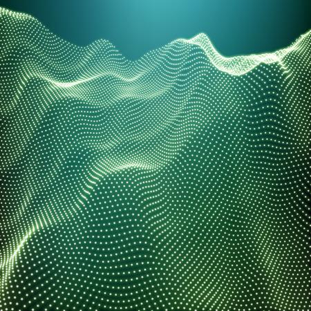 landschaft: Landschaftshintergrund. Futuristische Landschaft mit Shiny Grid. Low-Poly-Terrain. 3D-Drahtgitter-Terrain. Netzwerk Abstract Background. Cyberspace Grid. Technologie Vektor Illustration von Low-Poly-Landschaft