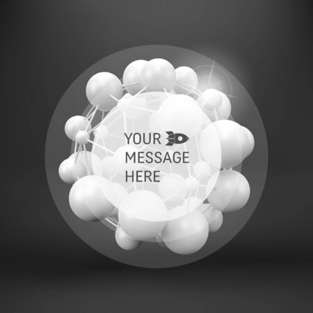 compounds: 3d abstract spheres composition. Futuristic technology style. Chemical Compounds. Abstract background with Place for Text. Vector background.