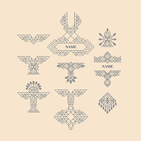 decoration style: Set of Vintage Graphic Elements for Design. Line Art Design for Invitations, Posters. Linear Element. Geometric Style. Lineart Vector Illustration. Geometric Linear Border, Divider. Page Decoration. Illustration