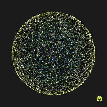 3d Sphere. Connessioni Global Digital. Concept. Tecnologia Illustrazione vettoriale.