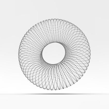 torus: Torus. Molecular lattice. Connection structure. 3d Vector Illustration.