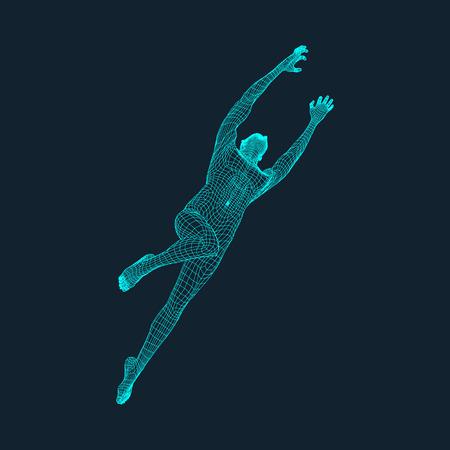Jump Man. Polygonal Design.