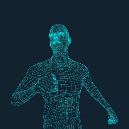 3d model: 3D Model of Man. Polygonal Design.