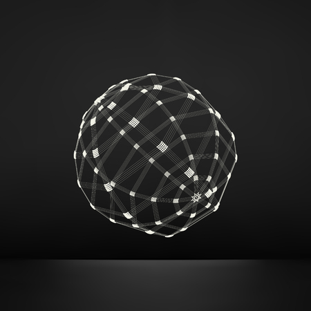model: 3d Sphere. Global Digital Connections. Technology Concept. Vector Illustration. Wireframe Object with Lines and Dots. Geometric Shape for Design. Lattice Geometric Element, Emblem and Icon.