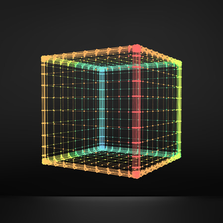 hexahedron: Cube. Regular Hexahedron. Platonic Solid. Regular, Convex Polyhedron. 3D Connection Structure. Lattice Geometric Element for Design. Molecular Grid. Wireframe Mesh Polygonal Element.