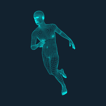 Running Man. Polygonal Design. 3D Model of Man. Geometric Design. Business, Science and Technology Vector Illustration. 3d Polygonal Covering Skin. Human Polygon Body. Human Body Wire Model.  イラスト・ベクター素材