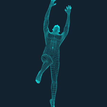 Salte al hombre. Diseño poligonal. Modelo 3D del Hombre. Diseño geométrico. Negocios, Ciencia y Tecnología de la ilustración del vector. Piel 3D poligonal cubriendo. Cuerpo Polígono humano. Modelo de alambre del cuerpo humano. Ilustración de vector