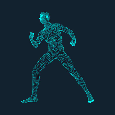 3D Model of Man. Polygonal Design. Geometric Design. Business, Science and Technology Vector Illustration. 3d Polygonal Covering Skin. Human Polygon Body. Human Body Wire Model. Ilustração