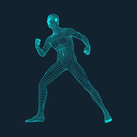 Modèle 3D de l'homme. Conception polygonal. Conception géométrique. Affaires, Science et technologie Vector Illustration. Peau 3D polygonale Covering. Corps humain Polygon. Modèle de fil du corps humain. Illustration
