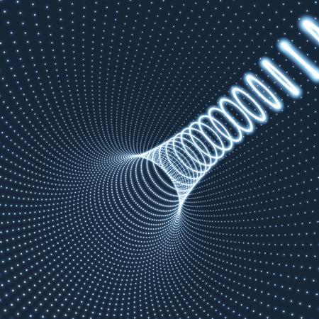 tunel: Túnel abstracto de cuadrícula. La tecnología de estilo futurista. 3D de superficie que parece el embudo. Puntos que brillan intensamente físico Sectores túnel. Volviendo tubo túnel. 3d Extracto del túnel o metro. Perspectiva fondo de la red. Vectores
