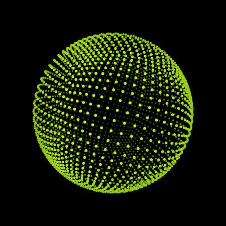esfera: La esfera que consta de puntos. Resumen de la red del globo. Ilustración de la esfera. Diseño de cuadrícula 3D. Estilo de la tecnología 3D. Redes - Globo Design.Technology Concepto. Ilustración del vector.