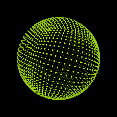 sphere icon: The Sphere Consisting of Points. Abstract Globe Grid. Sphere Illustration. 3D Grid Design. 3D Technology Style. Networks - Globe Design.Technology Concept. Vector Illustration.