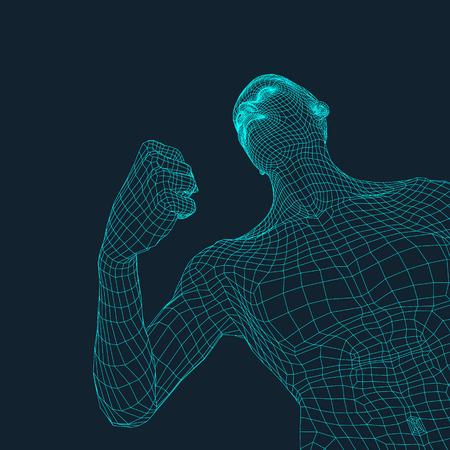 3D Model of Man. Polygonal Design. Geometric Design. Business, Science and Technology Vector Illustration. 3d Polygonal Covering Skin. Human Polygon Body. Human Body Wire Model. Illusztráció