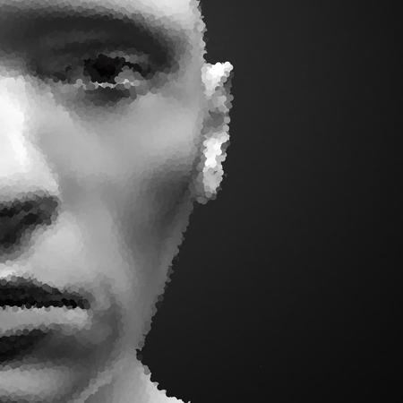pointillism: View of Human Head. Stipple Effect. Vector Art. Dot Design. Pointillism Style. Face Scanning.