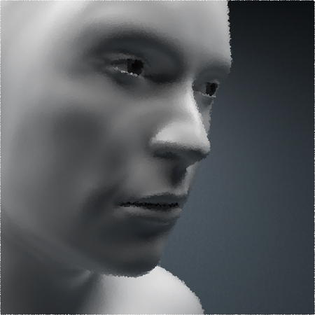 physiognomy: View of Human Head. Stipple Effect. Vector Art. Dot Design. Pointillism Style. Face Scanning.