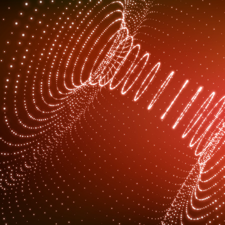 wormhole: Abstract Tunnel Grid. Futuristic Technology Style. 3D Surface Looks Like Funnel. Glowing Points Form Tunnel Sectors. Turning Tube Tunnel. 3d Abstract Tunnel or Tube. Perspective Grid Background.
