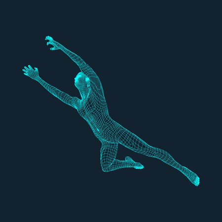 male figure: Jump Man. Polygonal Design. 3D Model of Man. Geometric Design. Business, Science and Technology Vector Illustration. 3d Polygonal Covering Skin. Human Polygon Body. Human Body Wire Model.