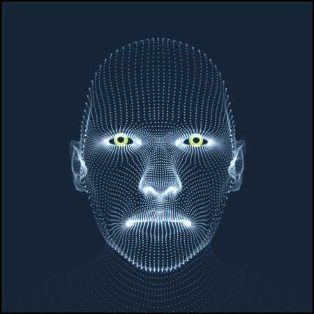 Head of the Person from a 3d Grid. Human Head Model. Face Scanning. View of Human Head. 3D Geometric Face Design. 3d Covering Skin. Geometry Man Portrait. Can be used for avatar, science, technology
